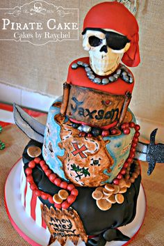 My Creative Way: Fondant Pirate Cake with Skull Cake Topper