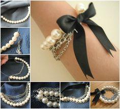 Creative Ideas - DIY Chained Pearl Ribbon Bow Bracelet | iCreativeIdeas.com Follow Us on Facebook --> https://www.facebook.com/iCreativeIdeas