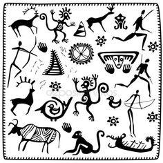 Establecer elementos de arte africano petroglifo — Vector de stock