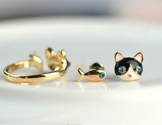 Cat and fish mini post earrings by KittyCrackHouse on Etsy