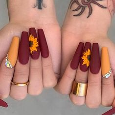 Cute Acrylic Nails 827325394032989232 - Beautiful Sunflower 🌻 nails design Source by melfrifri Cute Acrylic Nail Designs, Fall Nail Designs, Burgundy Nail Designs, Matte Nail Designs, Coffin Nail Designs, Coffin Nails Designs Summer, Bright Nail Designs, Latest Nail Designs, Orange Nail Designs