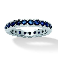 2.76 TCW Round Sapphire Eternity Ring in Platinum Over Sterling Silver at PalmBeach