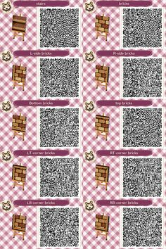animal crossing qr codes paths pathways Herringbone path for Animal Crossing: New Leaf, QR codes for all borders and corners, grey and white raised bricks with white background. Qr Code Animal Crossing, Animal Crossing Qr Codes Clothes, Acnl Qr Codes Dresses, Acnl Qr Code Sol, Acnl Pfade, Art Café, Acnl Paths, Motif Acnl, Ac New Leaf
