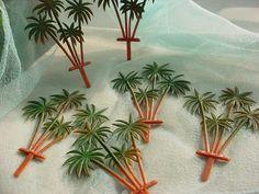 seller; florasgarden on ebay ~ 6 Vintage Palm Tree Cake Cupcake Picks Decorations Tiki Hawaiian Tropical 5 inch