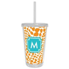 Whitney English Lizard Single Initial Beverage Tumbler Letter: R