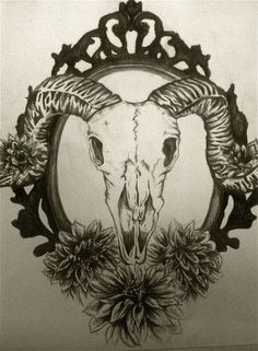 traditional goat skull tattoo - Google Search