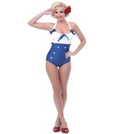 UniqueVintage White & Navy Sammie Swimsuit #4thofJuly