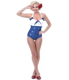 UniqueVintage White & Navy Sammie Swimsuit #4thofJuly