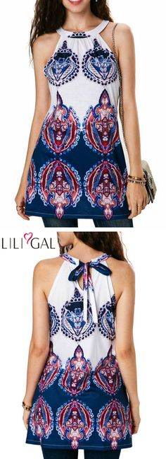 Tie Back Printed Sleeveless Round Neck Blouse #liligal #top #blouse #shirts #tshirt