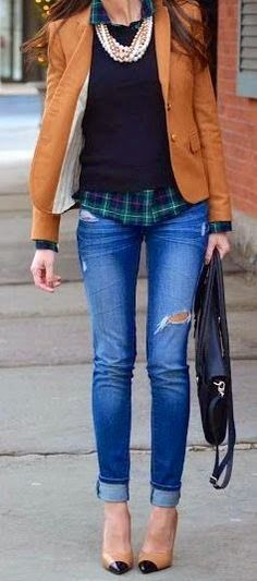 Fall Outfit With Ripped Jeans and Coat