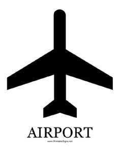 This graphic sign with caption announces the presence of an airport. Free to download and print