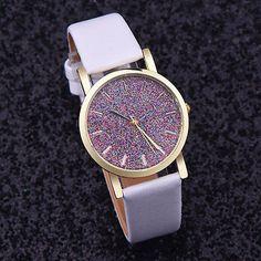 Montre Femme  Analogique Quartz Bracelet Blanc Paillette