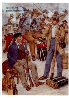 Texan Defenders of the Alamo . Mexican Army, Mexican American War, American History, Military Art, Military History, Military Uniforms, Texas Revolution, American Revolution, Texas History