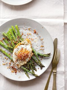 Breakfast! Or dinner. I'm easy. Fried Eggs with Asparagus, Pancetta & Bread Crumbs