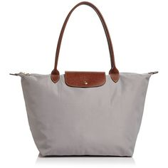Longchamp Le Pliage Large Shoulder Tote (€125) ❤ liked on Polyvore featuring bags, handbags, tote bags, white leather tote, leather man bags, shoulder tote bags, leather hand bags and white leather handbags