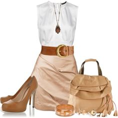 Very nice, simple, summer bridal shower outfit... brown leather pumps, beige handbag with ruffles and tassels, satin blouse dress in white and beige/nude, chunky gold bracelet, large gold pendant necklace, brown leather belt with gold clasp