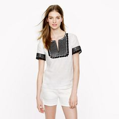 black and white tribal geometric embroidery
