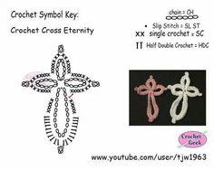 Crochet Lace Eternity Cross would be nice as a bookmark Crochet Diagram, Crochet Chart, Crochet Motif, Crochet Doilies, Crochet Flowers, Crochet Lace, Crochet Stitches, Crochet Patterns, Crochet Geek