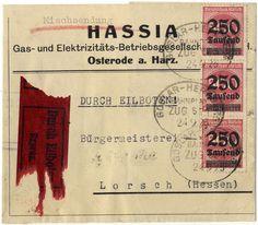 """250 Tsd. auf 500 M. Ziffern auf seltener, portogerechter Express-Mischsendung - 250 g. mit Bahnpost-Ovalstempel """"GOSLAR - HERZBERG"""" 24.9.23 ..."""