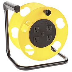Barco Cord Storage Reel with 4 Outlets and Resettable Circuit Breaker holds up to of gauge or of extension cord. It features four grounded outlets and a resettable circuit breaker. This cord reel works with most single outlet extension cord. Generator Shed, Metal Garden Hose, Wine Glass Rack, Cord Storage, Camper Interior, Truck Camper, Pickup Camper, Outlets, Pickup Trucks