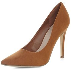 Tan Suedette Pointed Court Shoes ($14) ❤ liked on Polyvore featuring shoes, pumps, tan, pointed toe stilettos, tan shoes, stilettos, women shoes und pointy-toe pumps