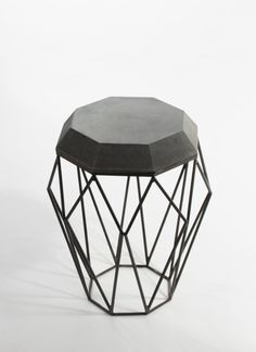 Octa, Side Table made of concrete and geometric steel framework