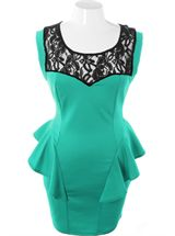 Plus Size Ravishing Trendy Peplum Hip Teal Dress, Plus Size Clothing, Club Wear, Dresses, Tops, Sexy Trendy Plus Size Women Clothes