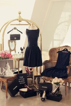 Oh So Pretty - lady's boudoir and closet dressing in black dresses and classic style