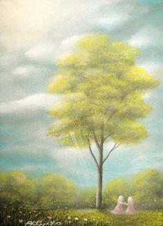 ACEO ATC Painting Fantasy Landscape Fairy Tale Girls Tree By Philippe Fernandez | eBay