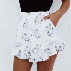 Print Lace Loose Shorts