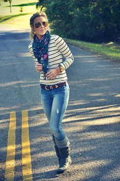 Love the floral scarf with stripe top