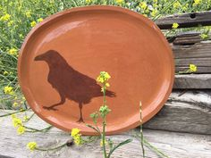 crow platter ceramic/screenprint/hand painted long x 11 wide x high dishwasher: yup microwave: limited oven: to warm you can have your art and eat off of it, too. Red Dog, Walking By, Crow, Screen Printing, Planter Pots, Hand Painted, Ceramics, Warm, Canning