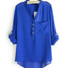 AVAILABLE ☆HP☆NWT Casual Royal Blue Chiffon Blouse AvailableNOW. Sizes S, M, and L available. Perfect for back to school JS Chic Tops Blouses