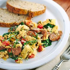 This Breakfast Scramble with Sausage is easy to whip up in the morning!