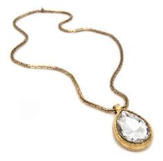 chanel. large teardrop faceted crystal necklace. mint condition. @pilgrimnyc