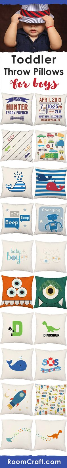 These toddler throw pillows will inspire any little boy's dreams. Whether he loves cars and trucks or dinosaurs are his favorite, you are sure to find one perfect for his toddler room. Our kids pillows feature 3 wooden buttons on the back for closure and the removable pillow covers are made to order in the USA. They make decorating fun and easy. Save to your board for later! #roomcraft