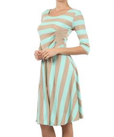 Another great find on #zulily! J-Mode USA Los Angeles Mint & Taupe Stripe Fit & Flare Dress by J-Mode USA Los Angeles #zulilyfinds