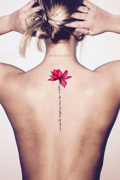 Cute Watercolor Pink Lily Lotus Script Quote Shoulder Tattoo Ideas for Women - B. - Cute Watercolor Pink Lily Lotus Script Quote Shoulder Tattoo Ideas for Women – Back Floral Flower - Faith Tattoos, Mom Tattoos, Wrist Tattoos, Trendy Tattoos, Unique Tattoos, Sleeve Tattoos, Tattoos For Guys, Foot Tatoos, Tattos