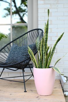 "One of my favourite new additions is this acapulco chair from Innit Designs.  They are a local Toronto company too.  This chair is super comfy and has a great modern look to it.  It's a pseudo father's day gift for the hubby since this spot by our back doors is his favourite place to sit.  The  pink planter is my ""DIY"".  My DIY basically was to spray paint a bullet-style planter pink since I couldn't find a pink one anywhere I looked.  Not much of a DIY, but I am super happy with it. :)"