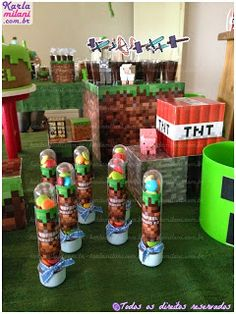 Atelier Karla Milani: Festa do Pijama com mesa Minecraft