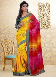 Dazzling yellow Bhagalpuri Silk Half N Half #Saree