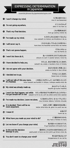 Infographic: how to express your determination in Japanese. http://japanesetest4you.com/infographic-express-determination-japanese/ #japaneselanguage