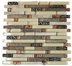 """Glossy Light Cream & Natural Stone with Metal Flower Modern Vintage Glass Mosaic Tiles Sheet Size: 13 3/8"""" x 11 3//4"""" x 3/8"""" Tile Size: Random Brick Type: Glass, Stone Finished: Glossy, Brushed, Flamed HTCSJ4"""