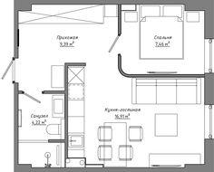 Современный дизайн квартиры 38 кв. м. -1