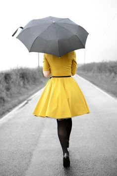 yellow dress and umbrella