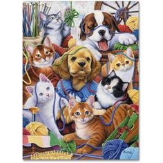 Trademark Fine Art 'Yarn Buddies' Canvas Art by Jenny Newland, Size: 14 x 19, Assorted