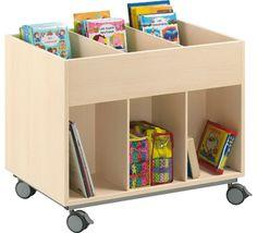 Mueble biblioteca doble cara con ruedas