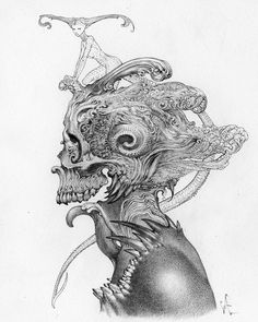 ArtStation - Some Recent drawings. Badass Drawings, Creepy Drawings, Dark Drawings, Cool Art Drawings, Art Sketches, Arte Horror, Horror Art, Surealism Art, Psychedelic Drawings