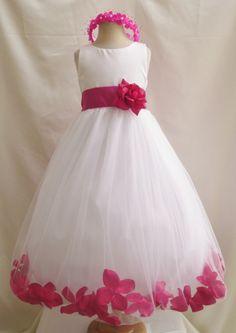 Flower Girl Dress - Ivory Rose Petal Dress with Fuchsia - Wedding, Easter, Junior Bridesmaid, Formal Girl Dress, Recital (FGPT) by LuuniKids on Etsy https://www.etsy.com/listing/159373236/flower-girl-dress-ivory-rose-petal-dress