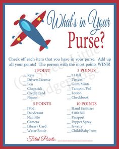 Airplane Baby Shower What's In Your Purse by swtleilanidesigns
